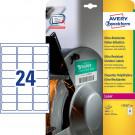 Avery Zweckform Folienetiketten, wetterfest, ultra-resistent (L7912-40), weiß 63,5 x 33,9 mm, 40 Bl. - 960 Stk.