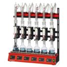 behrotest Reihenheizapparatur für 100 ml Extraktion, 6-stellig mit großflächigem Stehkolben 250 ml und Extraktor mit Hahn