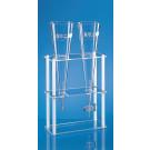 Gestell für Kunststoff-Sedimentiergefäße nach Imhoff, f. 2 Sedimentiergefäße. PMMA/PP