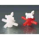 3-Wege-Ventil, BÜRKLE-LaboPlast®, PP/PE, rot/weiß