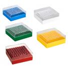 Kryo-Boxen für Kryo-Röhrchen 1,2 - 2 ml, aus PC, Raster 10 x 10, Form 132 x 132 x 52 mm