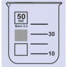 Becher Braunglas Boro 3.3, niedere Form, m. Teilung u. Ausguss