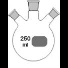 3-Hals-Kolben, klar, MH. NS 14/23, 2 x SH. NS, schräg