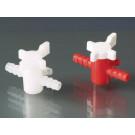 2-Wege-Ventil, BÜRKLE-LaboPlast®, PP/PE, rot/weiß
